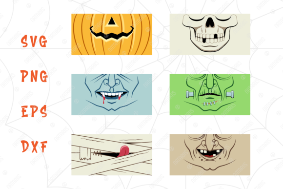 6 Funny Halloween Designs for Face Mask Graphic Download