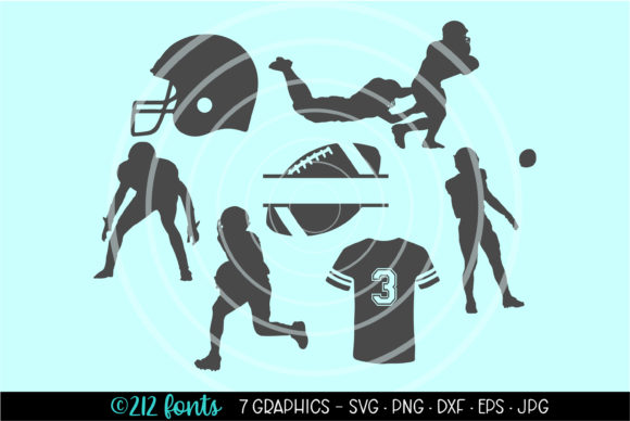 Print on Demand: 7 - American Football Graphics Clip Art Graphic Illustrations By 212 Fonts