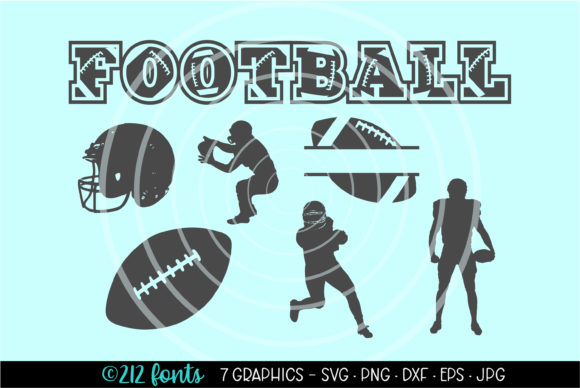 Print on Demand: 7 – Football Graphics Silhouette SVG PNG Graphic Illustrations By 212 Fonts