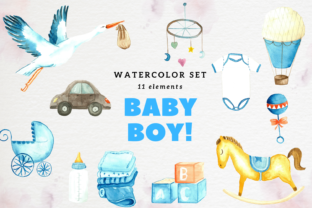 Baby Boy Watercolor Clip Arts Collection Graphic Illustrations By Aneta Design