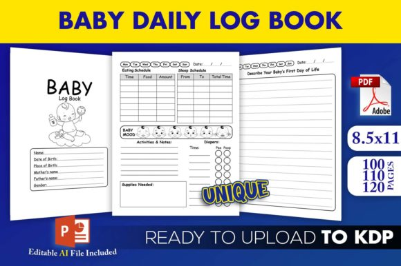Print on Demand: Baby Daily Log Book | KDP Interior Graphic KDP Interiors By Beast Designer