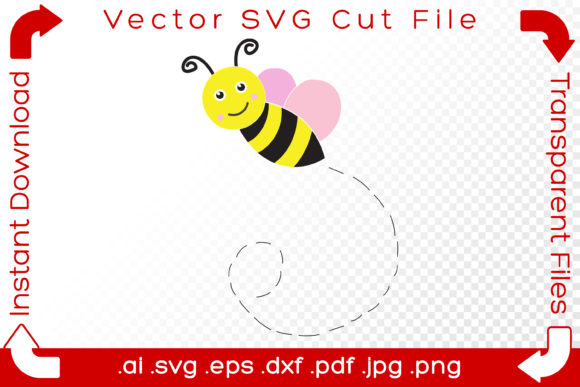 Print on Demand: Bee SVG Cut File Summer Bumblebee Sketch Graphic Crafts By iBearToo