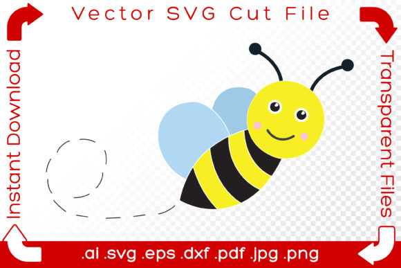 Print on Demand: Bee SVG Cut File Summer Bumblebee Sketch Graphic Illustrations By iBearToo