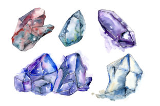 Print on Demand: Blue Mineral Watercolor Set Graphic Illustrations By MyStocks