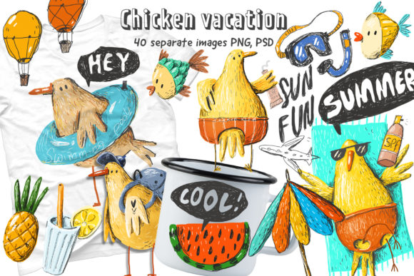 Print on Demand: Chicken Vacation Doodle Set Graphic Illustrations By Architekt_AT