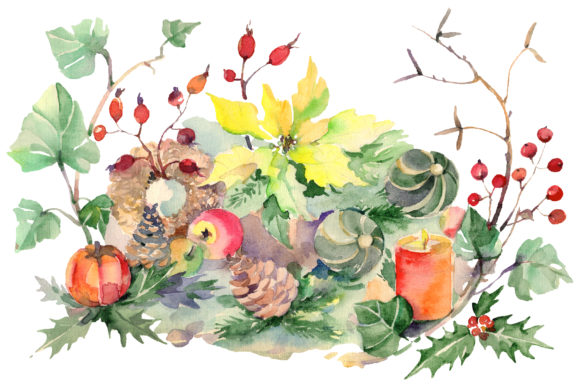 Print on Demand: Christmas Bouquet Snowstorm Watercolor Png Graphic Illustrations By MyStocks