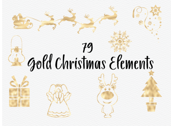 Christmas Gold Foil Ornaments Graphic Illustrations By Aneta Design