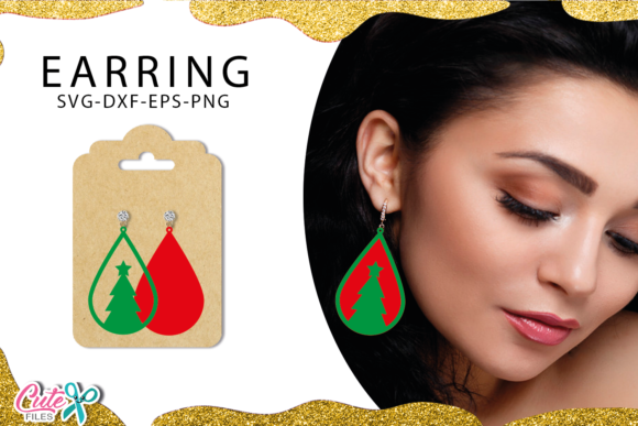 Christmas Tree Earrings Templante SVG Graphic Illustrations By Cute files