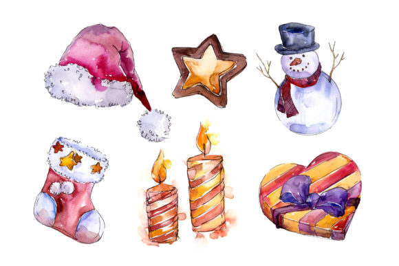 Print on Demand: Christmas Winter Holiday Watercolor Set Graphic Illustrations By MyStocks