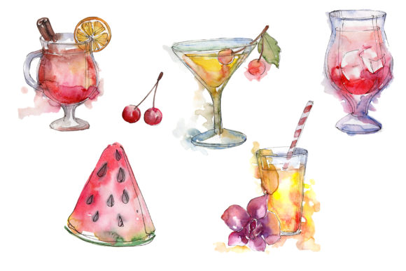 Print on Demand: Cocktail Fruit Manito Watercolor Graphic Illustrations By MyStocks