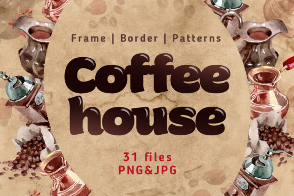 Print on Demand: Coffee House PNG Watercolor Set Graphic Illustrations By MyStocks
