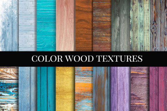 Print on Demand: Color Wood Texture Digital Paper, Wood Graphic Textures By The Rose Mind