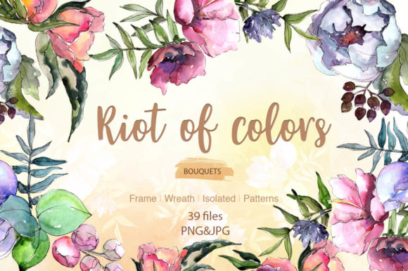 Print on Demand: Cool Bouquets Flowers Watercolor Set Graphic Illustrations By MyStocks
