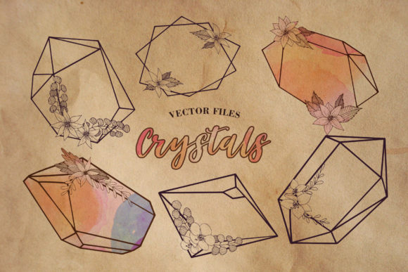 Print on Demand: Crystals Shapes Vector Collection Graphic Illustrations By MyStocks
