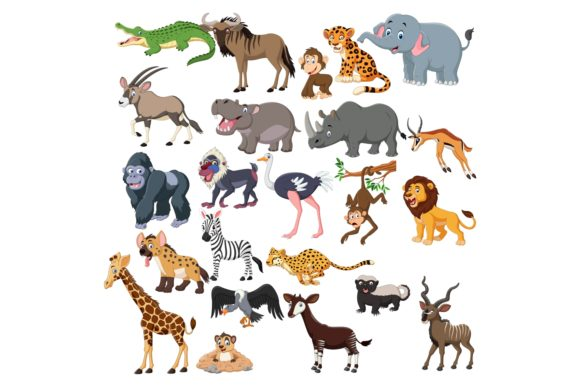 Cute Animals Cartoon Vector Set Graphic Illustrations By tigatelusiji