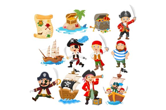 Cute Cartoon Pirates Vector Set Graphic Illustrations By tigatelusiji