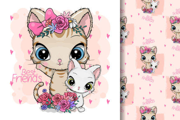 Cute Cartoon Cat with Flowers Graphic Illustrations By maniacvector