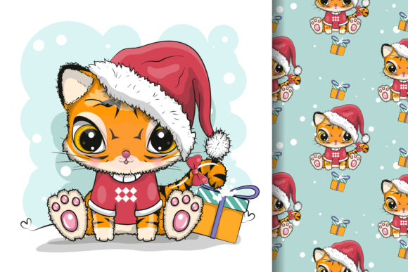Cute Cartoon Tiger with Christmas Custom Graphic Illustrations By maniacvector