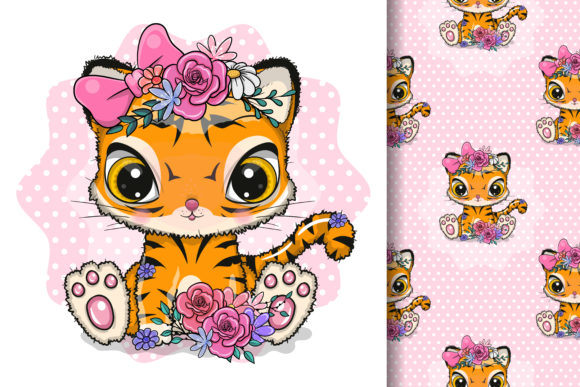 Cute Cartoon Tiger with Flowers Graphic Illustrations By maniacvector