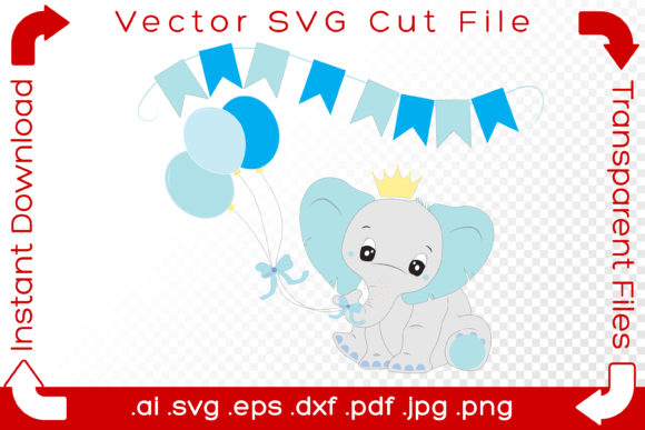 Print on Demand: Cute Elephant Baby, It's a Boy, Blue Graphic Illustrations By iBearToo