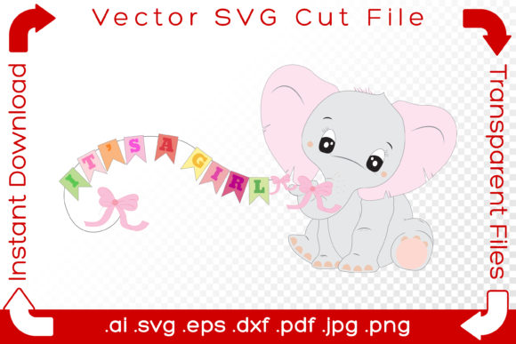 Print on Demand: Cute Elephant Baby, It's a Girl, Pink Graphic Illustrations By iBearToo