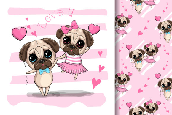 Cute Cartoon Pug Dog Couple Graphic Illustrations By maniacvector
