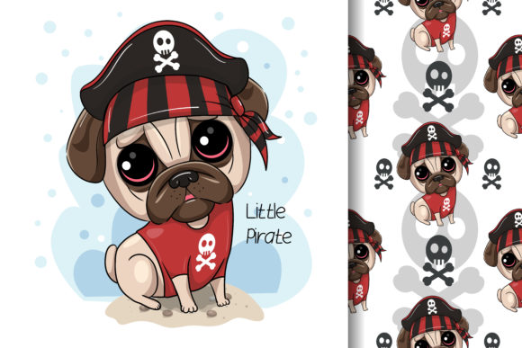 Cute Cartoon Pug Dog Pirate Graphic Illustrations By maniacvector