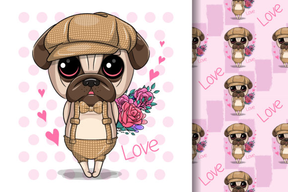 Cute Cartoon Pug Dog with Flowers Graphic Illustrations By maniacvector