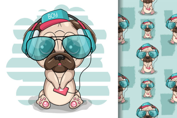 Cute Cartoon Pug Dog with Headphones Graphic Illustrations By maniacvector
