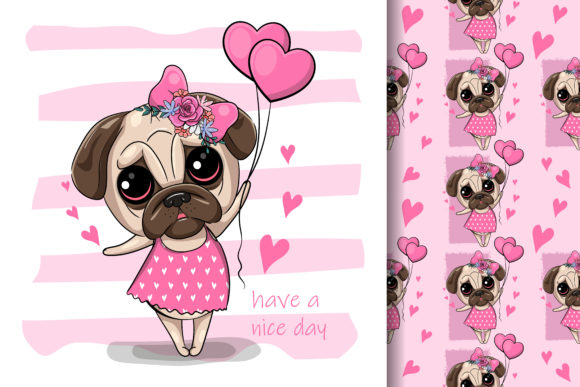 Cute Cartoon Pug Dog with Heart Balloons Graphic Illustrations By maniacvector