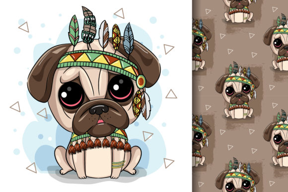 Cute Tribal Pug Dog and with a Feather Graphic Illustrations By maniacvector