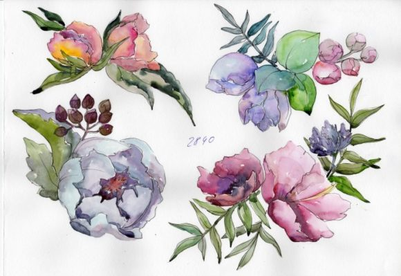 Print on Demand: Delicate Bouquets of Flowers PNG Set Graphic Illustrations By MyStocks