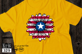 Distressed Sunflowe US Flag Sublimation Graphic Crafts By Krit-Studio329
