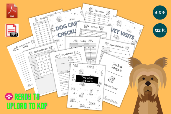 Print on Demand: Dog Care Log Book KDP Gráfico Plantillas para Impresión Por anatarouca