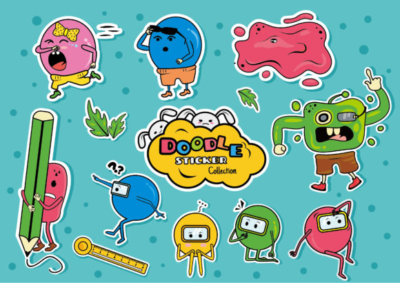 Doodle Sticker Collection Clipart Icon Graphic Illustrations By ABs