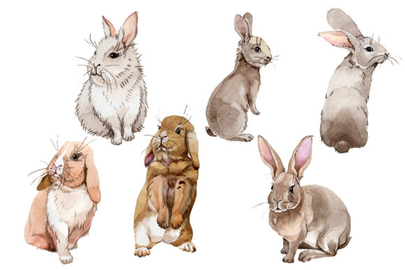 Print on Demand: Easter Bunny Watercolor Graphic Illustrations By MyStocks - Image 1