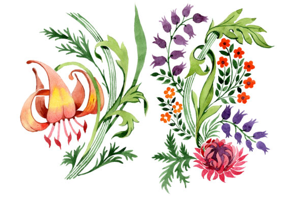 Print on Demand: Floral Ornament Sunny Watercolor   Graphic Illustrations By MyStocks
