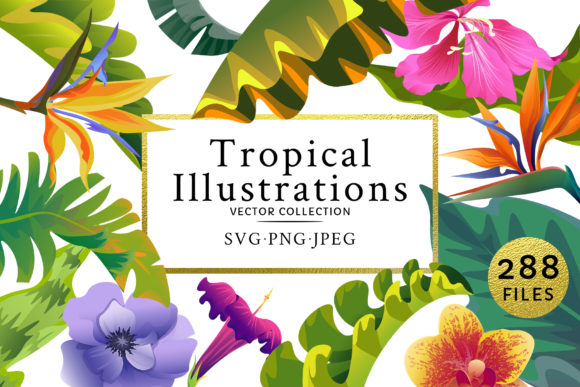 Print on Demand: Flowers Tropical Illustration Pack Watercolor Graphic Illustrations By MyStocks