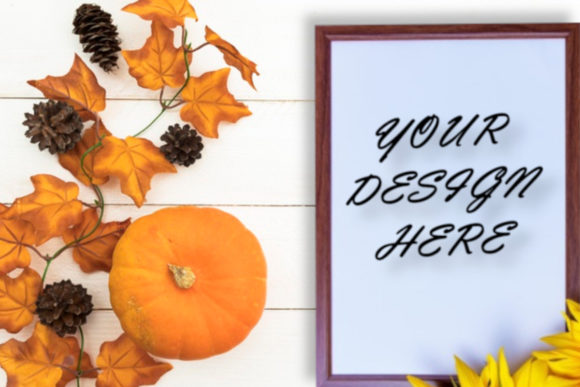 Frame Mockups,Autumn Background,Flat Lay Graphic Product Mockups By ArtStudio