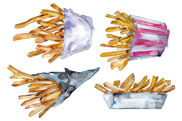 Print on Demand: French Fries Watercolor PNG Graphic Illustrations By MyStocks