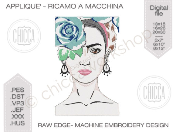 Frida Kahlo Portrait - Applique Raw Edge Beauty Embroidery Design By CHICCAWORKSHOPSTORE - Image 1
