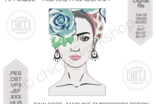 Frida Kahlo Portrait - Applique Raw Edge Beauty Embroidery Design By CHICCAWORKSHOPSTORE