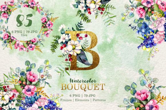 Print on Demand: Gorgeous Flower Bouquets Watercolor Png Graphic Illustrations By MyStocks