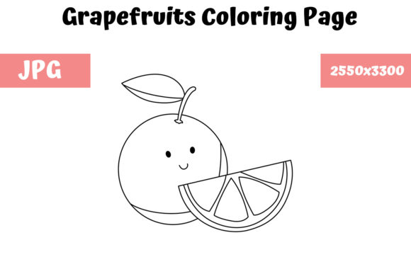 Print on Demand: Grapefruits Coloring Page for Kids Graphic Coloring Pages & Books Kids By MyBeautifulFiles