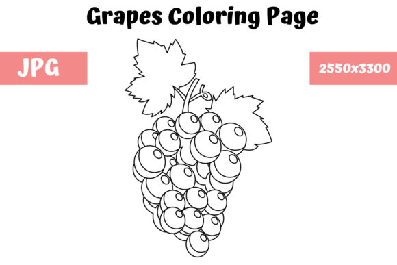 Print on Demand: Grapes Coloring Page for Kids Graphic Coloring Pages & Books Kids By MyBeautifulFiles