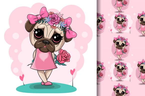 Greeting Card Puppy Girl with Flowers Graphic Illustrations By maniacvector