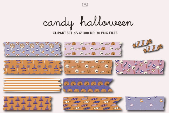 Halloween Candy Washi Tape Digital Graphic Crafts By Nina Prints