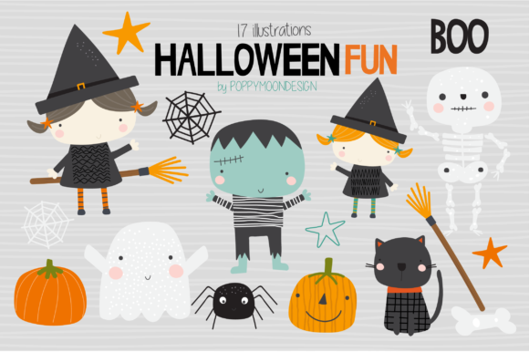 Print on Demand: Halloween Fun Clipart Graphic Illustrations By poppymoondesign