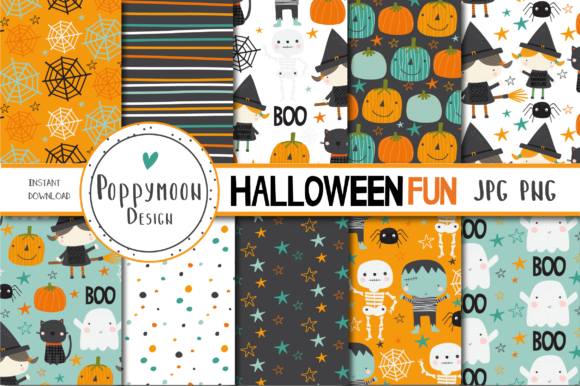 Print on Demand: Halloween Fun Paper Set Graphic Patterns By poppymoondesign