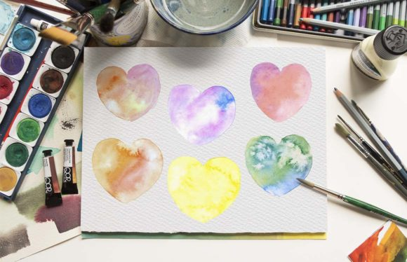 Hand Painted Multicolored Hearts Designs Graphic Illustrations By Aneta Design